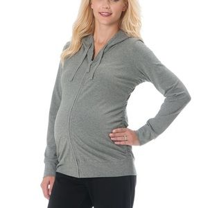 🤰🖤Fitted zip up maternity ruched hoodie